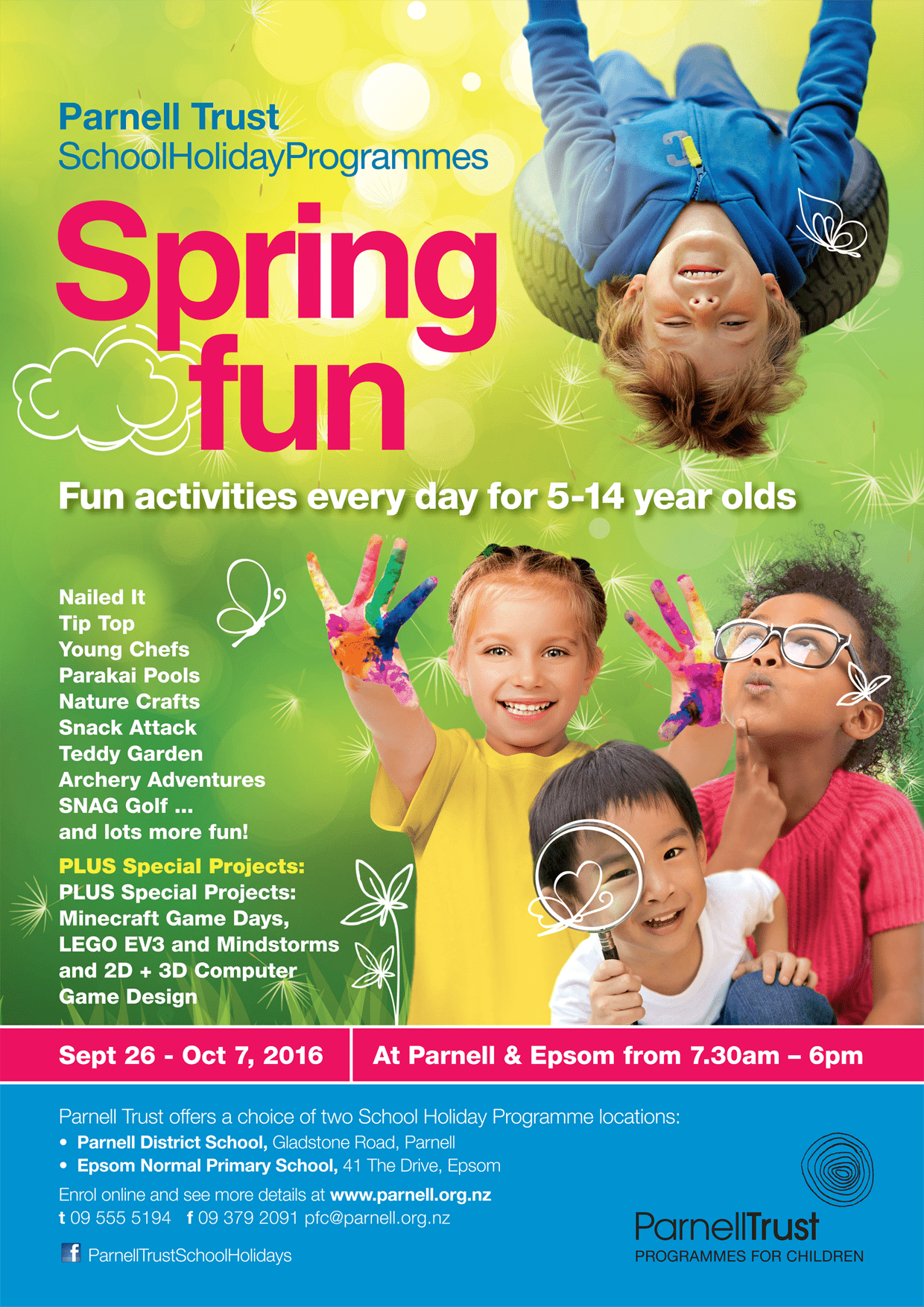 Parnell Trust Sept-Oct school holiday programme - flyer cover A6