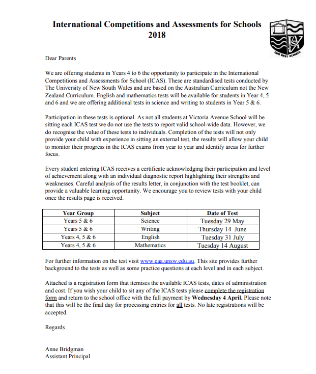 Newsletter Term 1 Week 7- 22 March 2018 - Victoria Avenue School